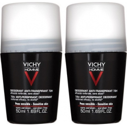 Vichy Homme Deodorant Anti-Transpirant Roll-On 72h 50mlx2