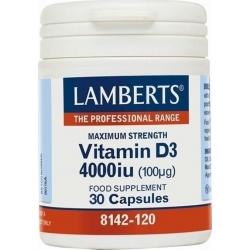 Lamberts Vitamin D3 4000iu 30 κάψουλες