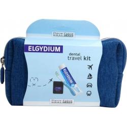 Elgydium Dental Travel Kit Σετ Ταξιδιού με Οδοντόβουρτσα, Οδοντόκρεμα38ml Οδοντικό Νήμα 5m& Νεσεσέρ  Μπλε