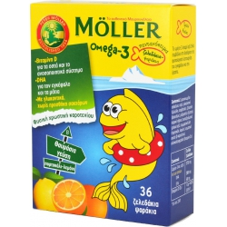 Moller's Omega-3 Kids Πορτοκάλι-Λεμόνι 36 παστίλιες