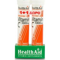 HealthAid Vitamin C 1000mg 2 x 20 αναβράζοντα δισκία Πορτοκάλι