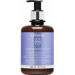 Apivita Cleansing Κρεμώδης Αφρός Καθαρισμού για Πρόσωπο & Μάτια Με Ελιά & Λεβάντα 300ml
