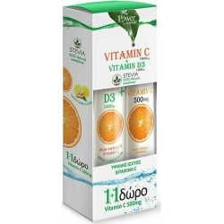 POWER HEALTH Vitamin C 1000mg Vitamin D3 1000iu Stevia 20 Αναβράζοντα Δισκία & Δώρο Vitamin C 500mg 20 Αναβράζοντα Δισκία