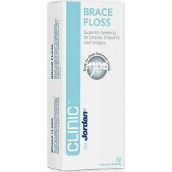 Jordan Clinic Brace Floss Οδοντικό Νήμα Ιδανικό για Σιδεράκια, Γέφυρες & Εμφυτεύματα 50τμχ
