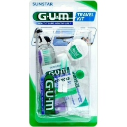 GUM 156 Travel Kit Σετ Ταξιδιού με Οδοντόβουρτσα, Οδοντόκρεμα και Οδοντικό Νήμα - Γαλάζιο
