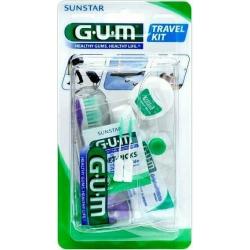 GUM 156 Travel Kit Σετ Ταξιδιού με Οδοντόβουρτσα, Οδοντόκρεμα και Οδοντικό Νήμα - Μωβ