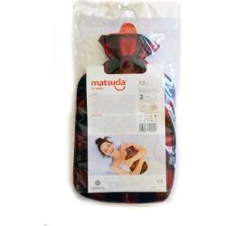 Matsuda Πλαστική Θερμοφόρα με Επένδυση Fleece 2.2lt Κόκκινο Καρό