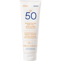 Korres Yoghurt Sunscreen Emulsion Face & Body SPF50 For Sensitive Skin Αντηλιακό Γαλάκτωμα Σώματος + Προσώπου 250ml