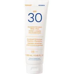 Korres Yoghurt Sunscreen Emulsion Face & Body SPF30 For Sensitive Skin Αντηλιακό Γαλάκτωμα Σώματος + Προσώπου 250ml