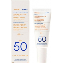 Korres Yoghurt Sunscreen Face & Eyes Cream Gel SPF50 For Sensitive Skin Αντηλιακή Kρέμα Gel Προσώπου Και Ματιών 40ml