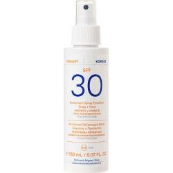 Korres Yoghurt Sunscreen Spray Emulsion Face + Body SPF30 For Sensitive Skin Αντηλιακό Γαλάκτωμα Spray Σώματος + Προσώπου 150ml