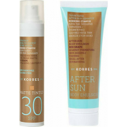 Korres Red Grape Matt Tinted Sunscreen Face Cream SPF30 50ml & After Sun Body Emulsion 125ml