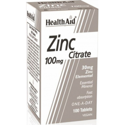 Health Aid Zinc Citrate 100mg 100 ταμπλέτες