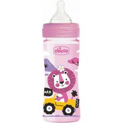 Chicco Μπιμπερό Well Being Πλαστικό Pink Lion 2m+ 250ml
