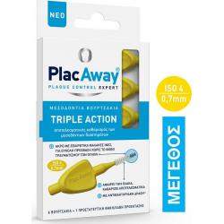 PlacAway Triple Action Μεσοδόντια Βουρτσάκια 0.7mm σε χρώμα Κίτρινο 6τμχ