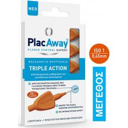 PlacAway Triple Action Μεσοδόντια Βουρτσάκια 0.45mm σε χρώμα Πορτοκαλί 6τμχ