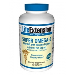 Life Extension Super Omega 3  EPA/DHA Sesame Lingans-Olive 60's