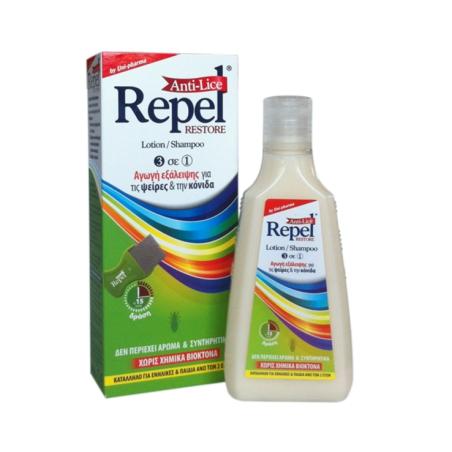 Uni-Pharma Repel Anti-lice Restore Λοσίον / Σαμπουάν 3 in 1 200ml