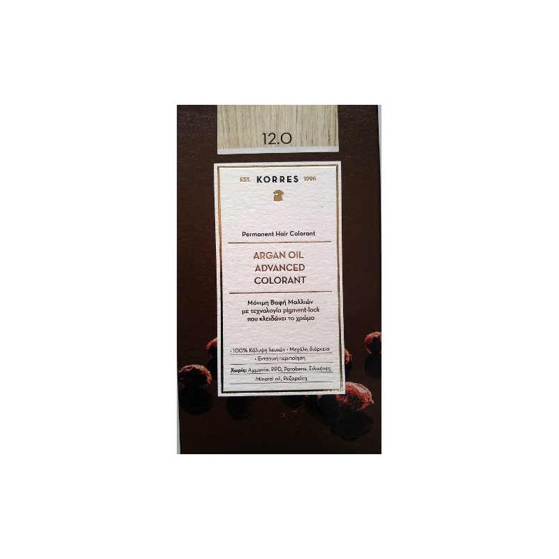 Korres Argan Oil Βαφη Μαλλιων 12.0 Ξανθο Special Blonde 50ml.